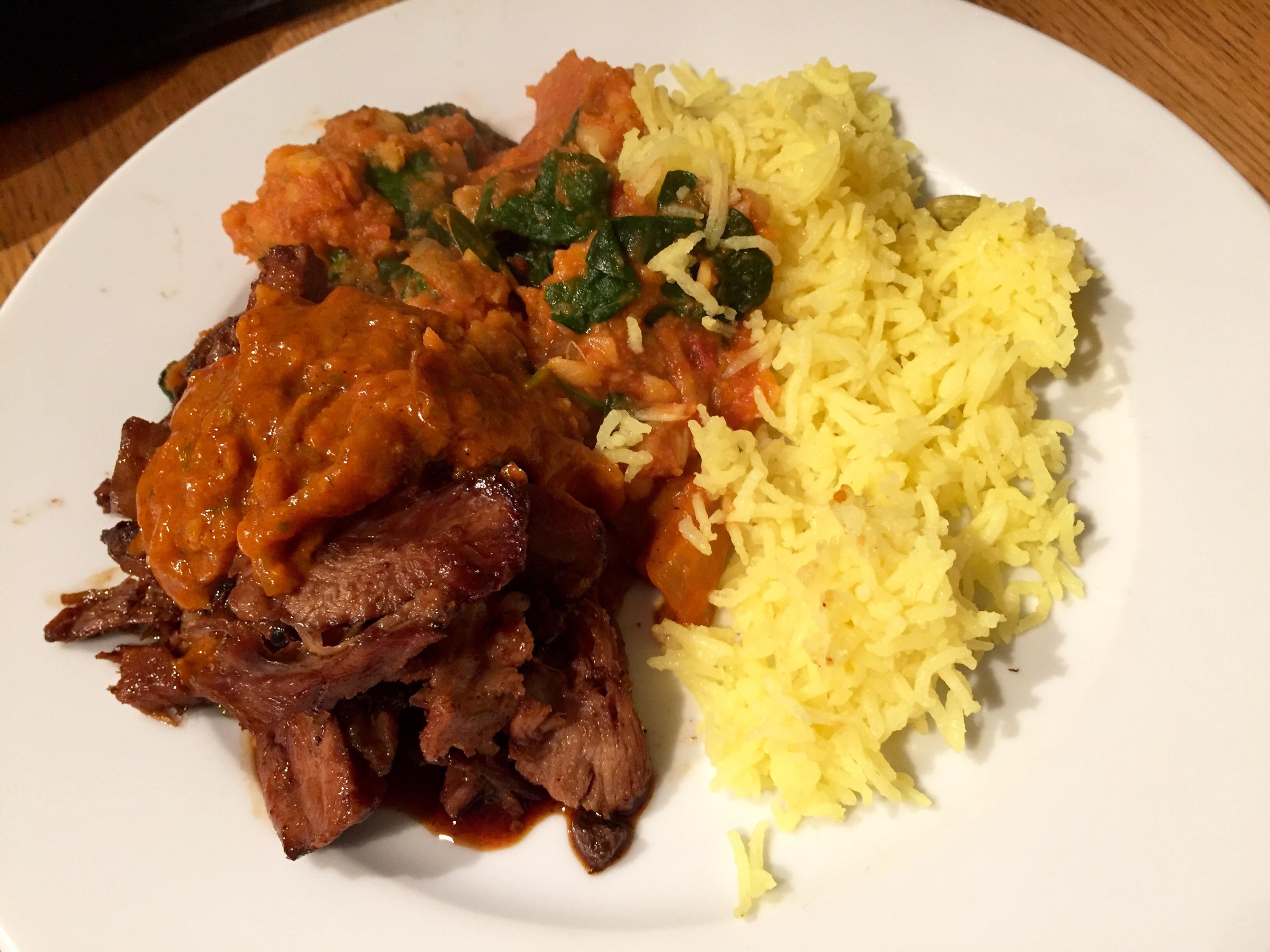 Lamb, rice and roti