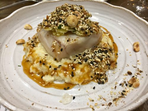 Baked hake with cauliflower miso and dukkah, Skosh, York