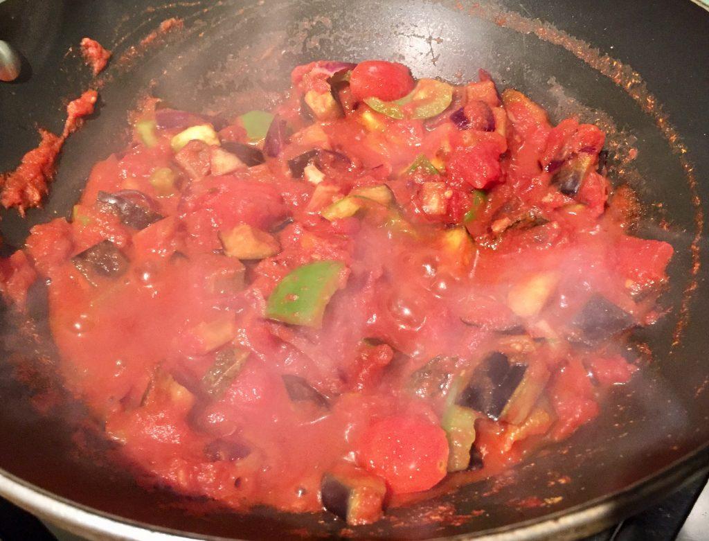 Potato aubergine pea curry with tomatoes