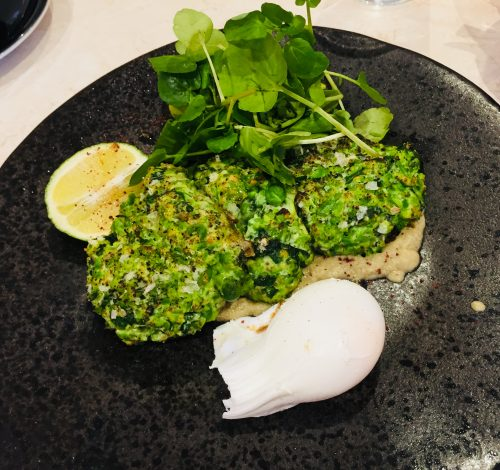 The Lilypad Pea and kale fritters with a poached egg