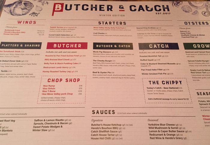 Butcher and Catch Menu