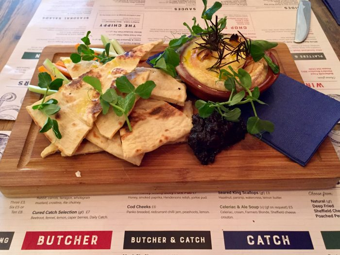 Butcher & Catch Baked Sheffield Little Mesters cheese with flat bread