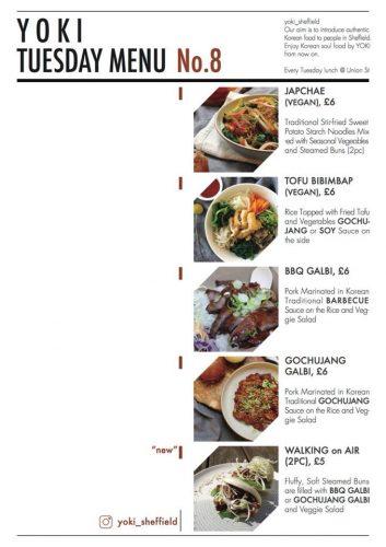 Yoki Sheffield menu